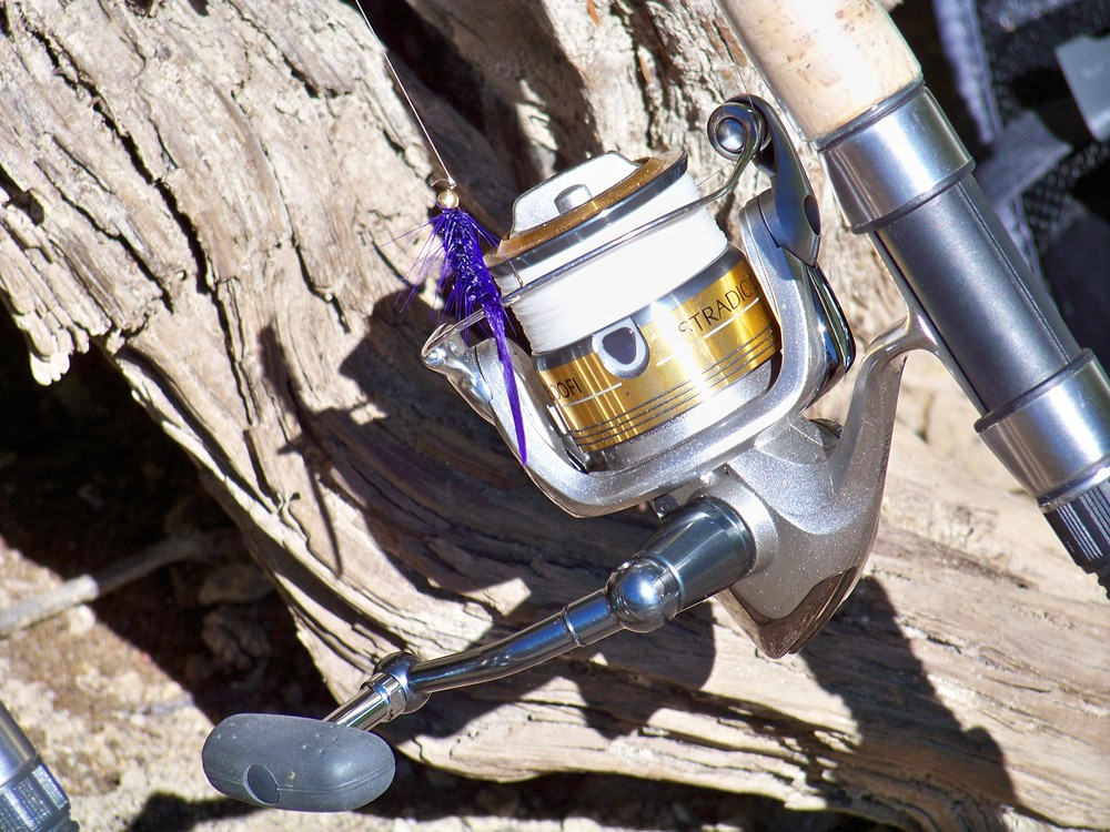 Shimano Stradic 2500 spooled with 8 lb. Fireline Crystal Braid
