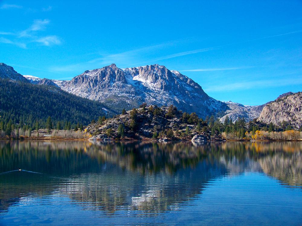 Gull Lake June Lake Loop California, flat calm, no wind, clear blue skies.