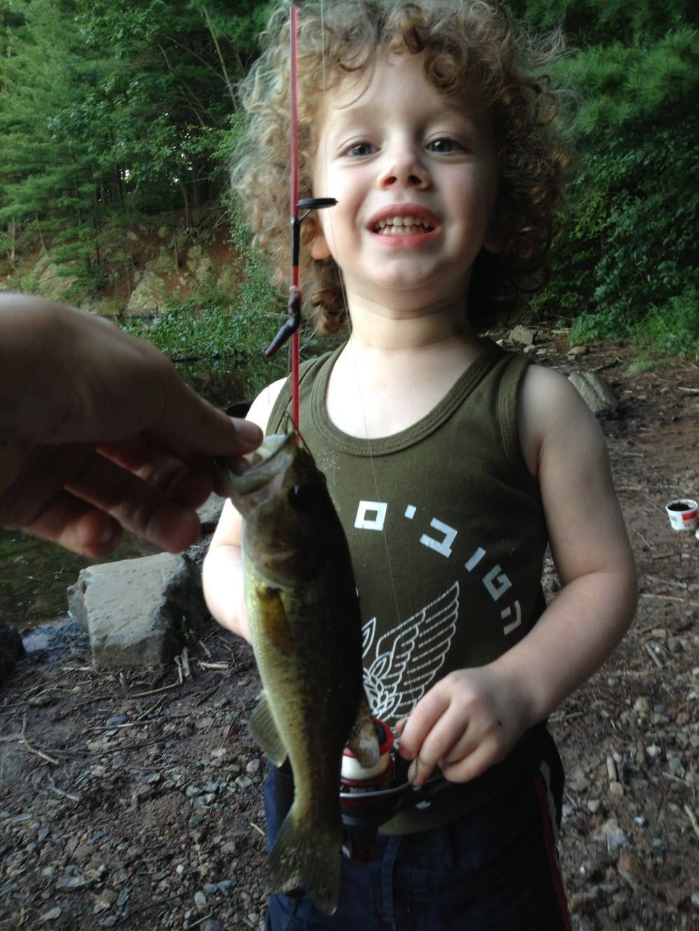 Here is my nephew Mikael, who was four at the time, proudly displaying his first largemouth bass. This was one of many bass that he caught that day.