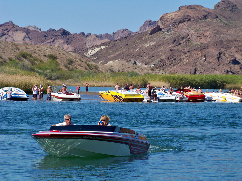 Sand Bar Island, this is mild boat traffic for a summer day.