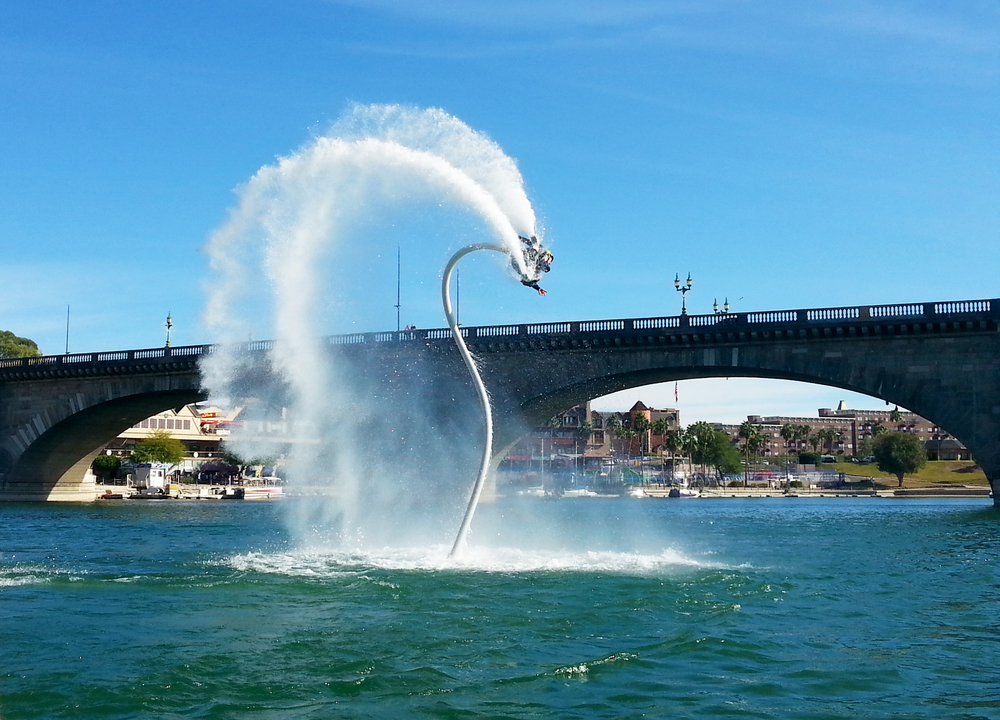 Water Jetpacker in front of the London Bridge