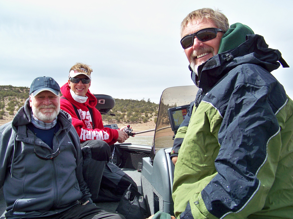 Right to left - Show Producer Al Lindner, Show Host Troy Lindner, Guest Angler Derrek Stewart