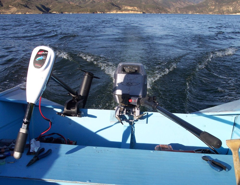 The clamp on electric trolling motor, and it's related equipment, transforms a rental boat into a bass boat.