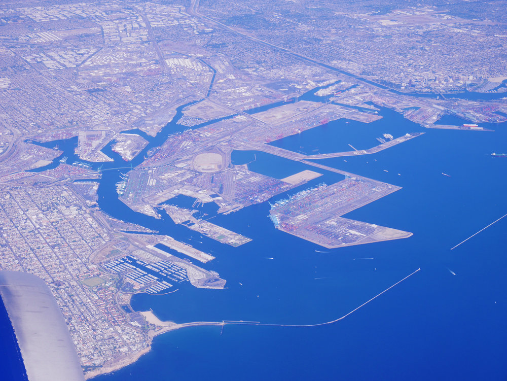 San Pedro on the left, Port of Los Angeles, and Long Beach Harbor