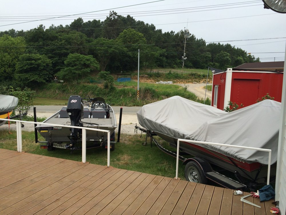 Pic. 6. There's no shortage of bass boats in South Korea, even at the guesthouse where we stayed