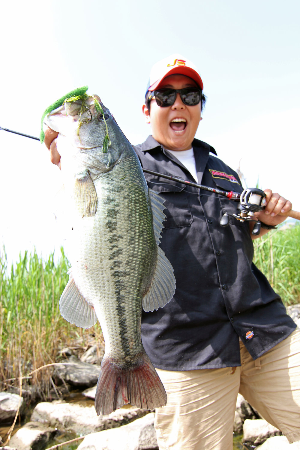 Pic. 7. Kang caught all his big bass in shallow hydrilla cover.