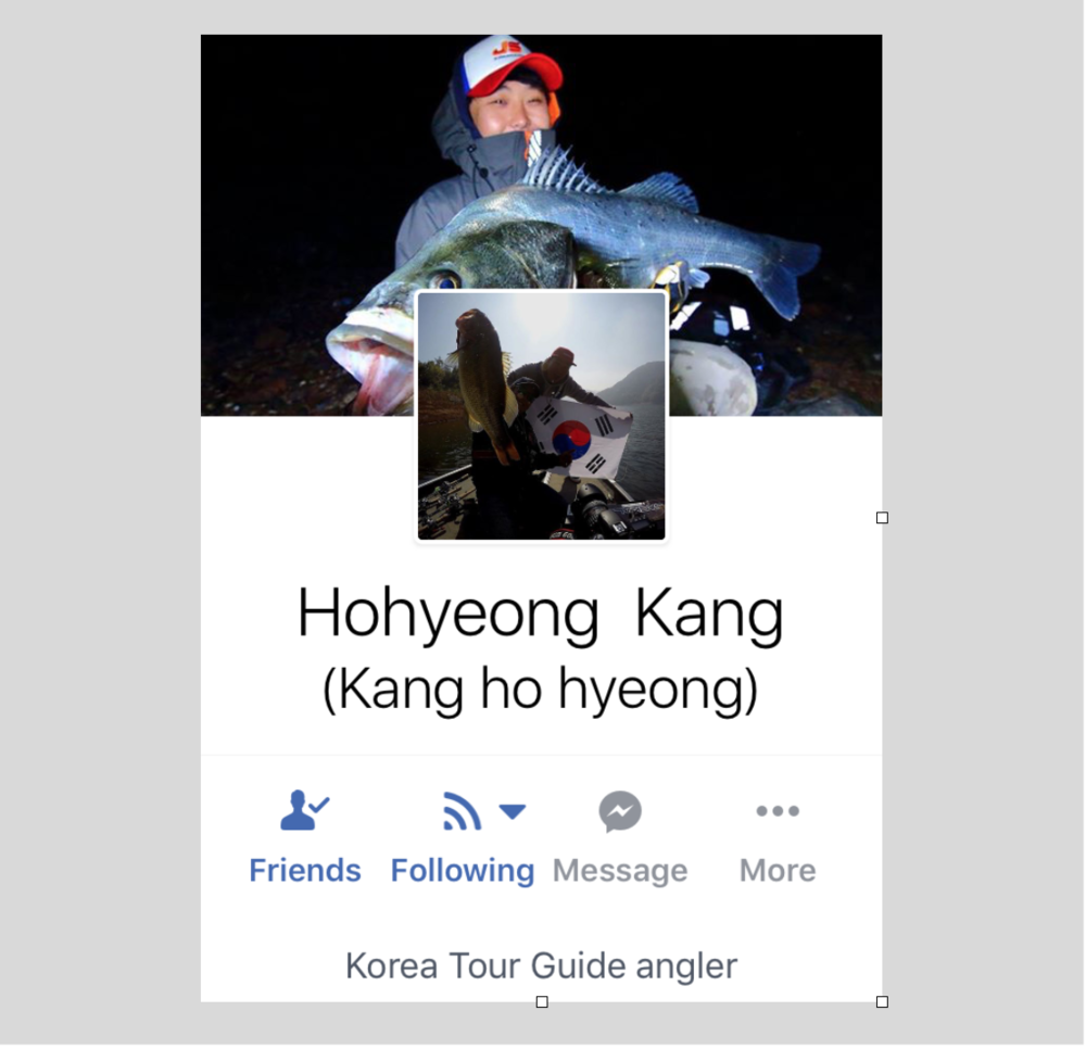 Mr. Kang Hohyeong is a doctorate graduate student at a university in Yongin City, South Korea. He specializes in outdoor sports and angling sciences. He's also a semi-professional angling guide and he does bass and multispecies angling trips, both shore and boat fishing. He runs a 17-foot Tracker Pro Team 175 bass boat.     He is also a field-staff for JS Rods and the South Korean distributorship of Huddleston swimbaits and an experienced guide. He speaks fluent Korean and decent English. I encourage you to check out his Facebook profile and get in touch with him for more details about his guided fishing trips in South Korea  https://www.facebook.com/hohyeong.kang .