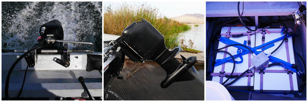This 40 horsepower equivalent engine and two batteries have the same equal weight of a traditional 40 HP outboard motor.