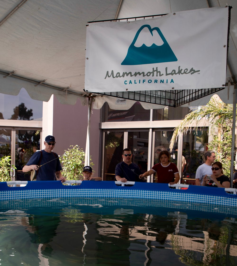 "One of the big sponsors of the trout pond is ""Mammoth Lakes"""