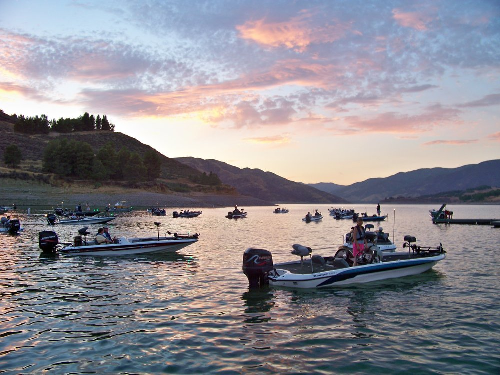 Bass boat staging for a team tournament; an excellent sunrise and the current benchmark for contemporary bass fishing vessels.