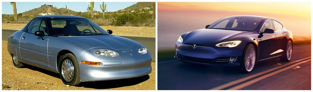 Left - GM EV1 photo by RightBrainPhotography, right - Tesla photo by Tesla.com