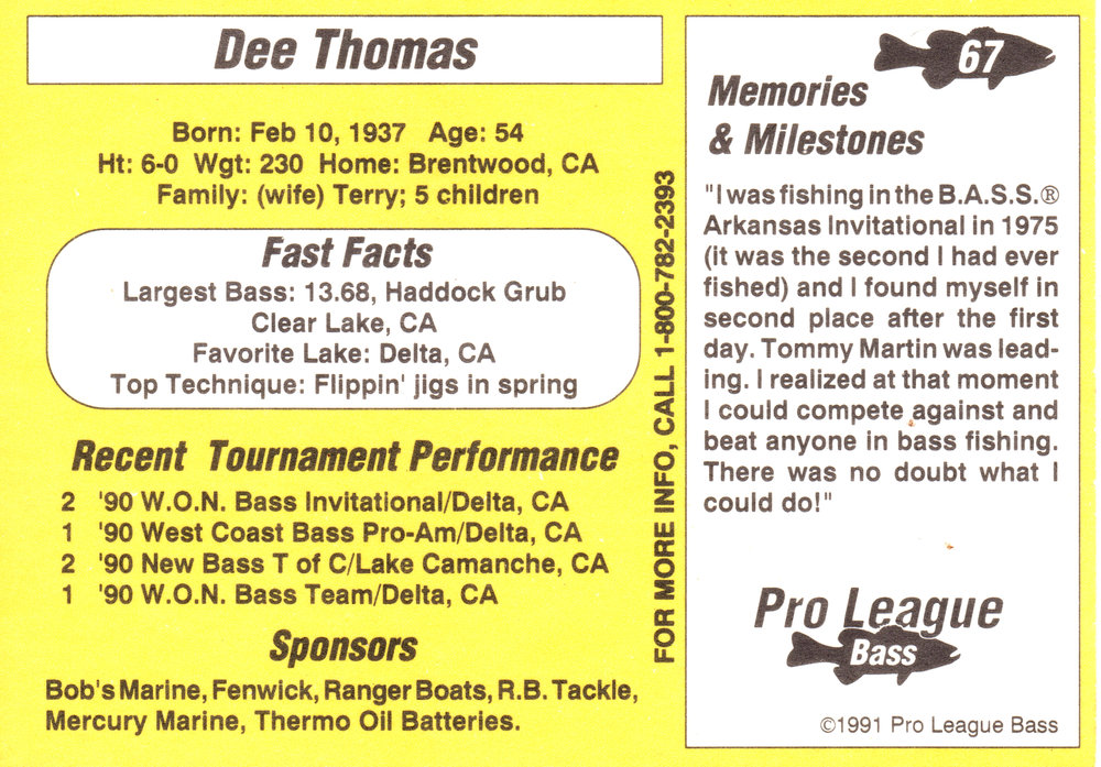 "Pro Stats 1991 - ""There is no doubt what I could do!"" – Dee Thomas."