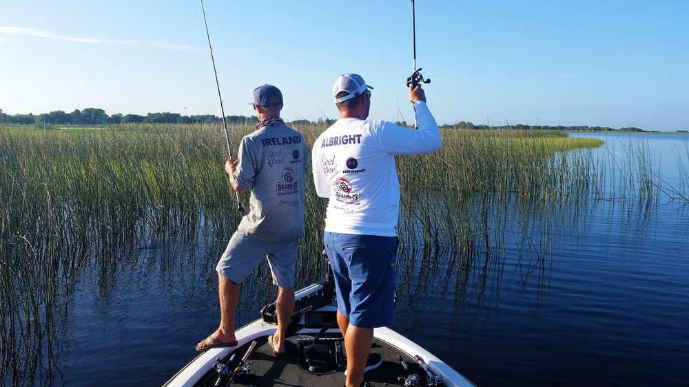 These two might as well be named Hoover and Dyson, (Dyson always has his foot on the gunwale), they're excellent anglers, and I was thrilled that I could catch my first Florida bass behind them!