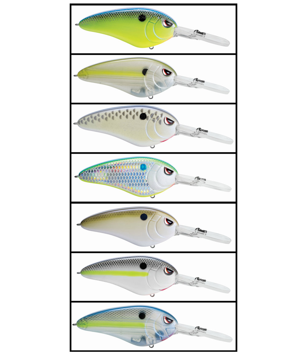 Super DD 90 color patterns top to bottom; Chartreuse Blue, Clear Chartreuse, Cell Mate, Citrus Shad, Natural Herring, Nasty Shad, Spooky Nasty