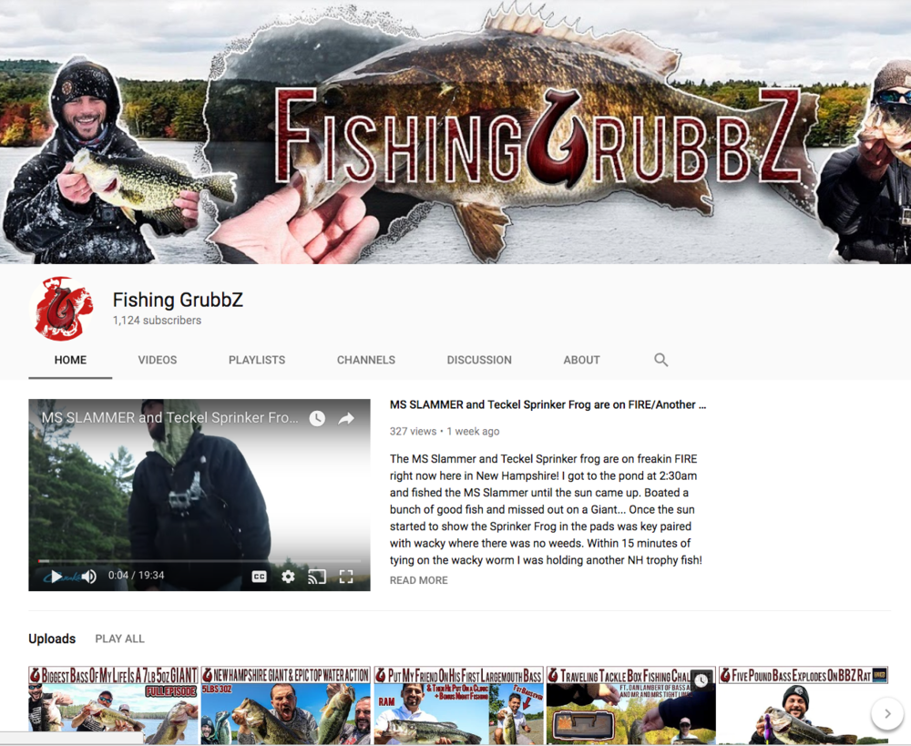 "Check Out ""Fishing GrubbZ"" On YouTube!"