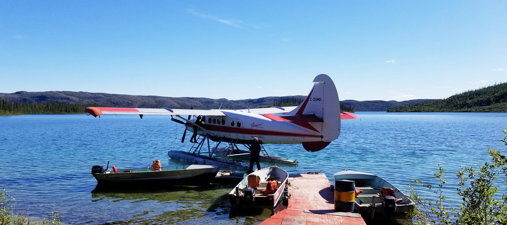 A float plane drops guests off at Plummer's Arctic Circle Outpost Lodge.
