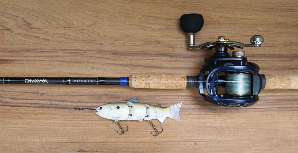 "Daiwa DXSB 801HFB swimbait rod, Daiwa Lexa-HD 400 XS-P 8:1 reel, Maxima 65 lb. braid, 12"" 150 lb. single strand wire leader with swivel and snap, and SPRO BBZ-1 6"" Lavender Shad Swimbait."