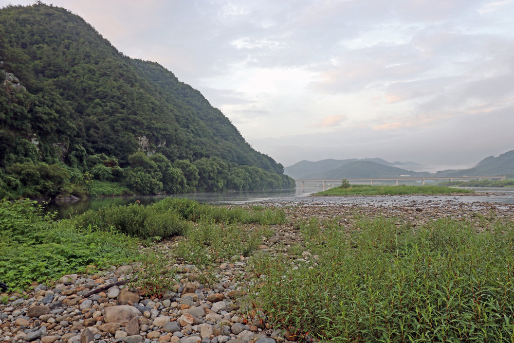 Pic. 1.  This picturesque river is home to some of the biggest largemouth bass and ayu in South Korea.