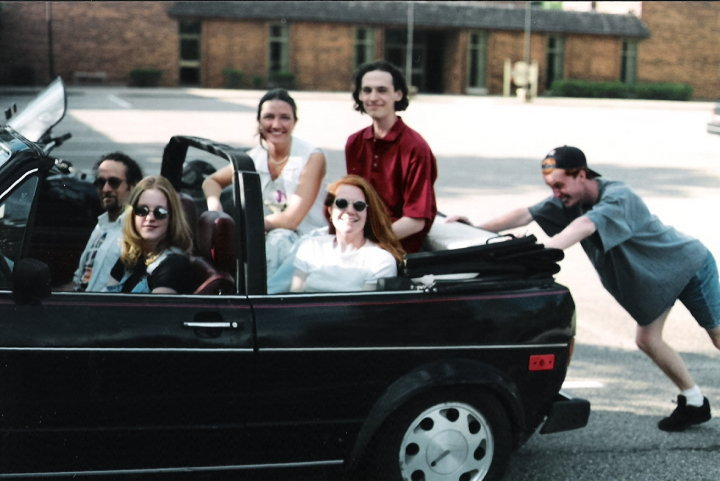 One of the only known pics of the car from this era. Pictured are the members of Flytrap Sister (our '90s era alternative chick rock cover band) and my wife. The tall guy in the red shirt is Eric.