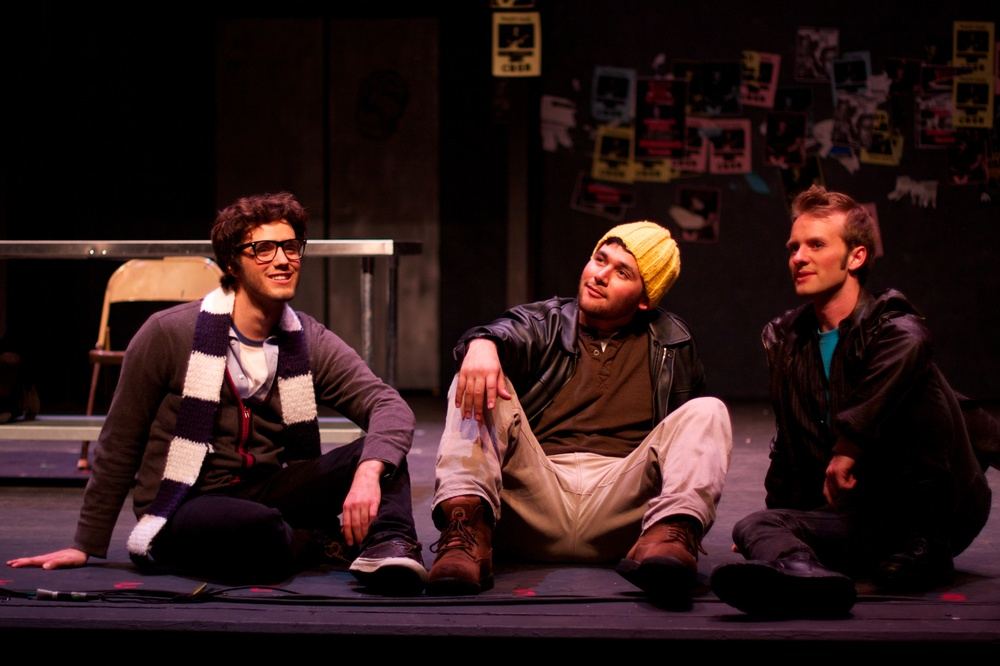 Mark (Zach Kissinger), Collins (Jordan Solorio), & Roger (Sam Van Gorden)  Photo courtesy of Stephen M. Woo.
