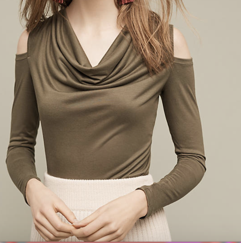 Anthropologie's offering: This top would be great in a nicer colour and without the long sleeves.A strip of below-shoulder fabric would have been more eye-catching and more suitable, since you could wear this on warm days. Which is the only time I want to expose my shoulders!