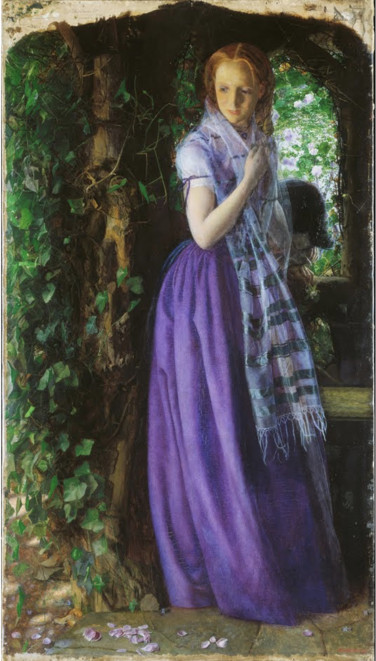 April Love - by Arthur Hughes, a Pre-Rapahelite painter, c. 1855-56. The man in the background is weeping, and holds a rose with fallen petals. The mauve of the woman's dress was a new pigment derived from coal tar, and was 'all the rage' for a few years in the mid-century. In sum, the young lady may be disappointed in love, but she is certainly fashionable!