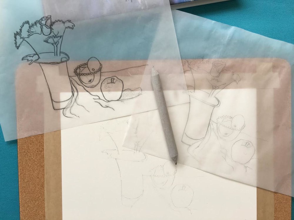 Watercolour paper gum-taped to a board (actually a large cork-backed placemat), a blending stump, and high-quality tracing sheets.