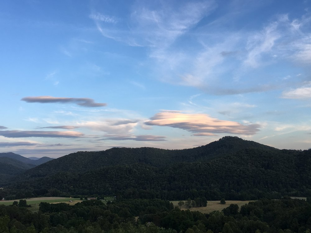 Somewhat lenticular clouds over the Smoky Mountains. Every cloud on every day is different, like snowflakes.