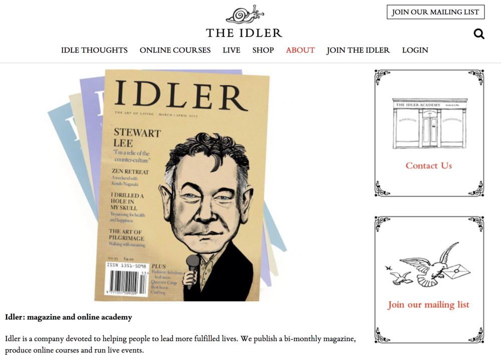 The 'about' page on  The Idler website .