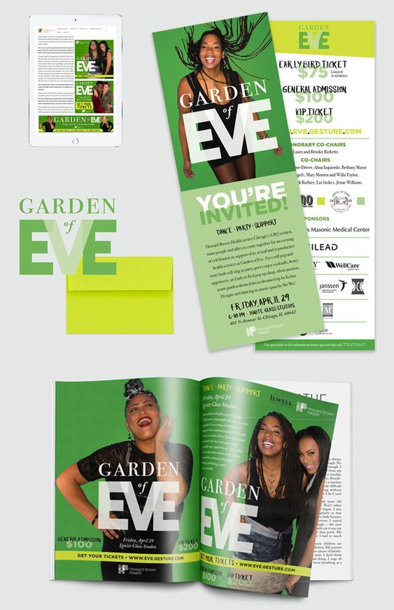 Garden of Eve Fundraiser Event - Logo and style guide, program & digital ad design
