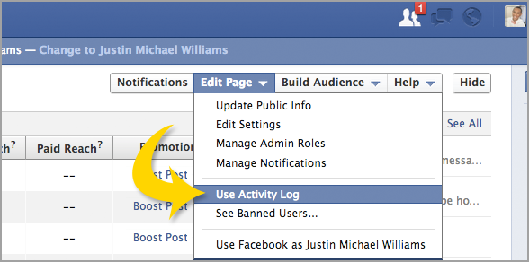 Justin Michael Williams social media. Scheduling Facebook Post.