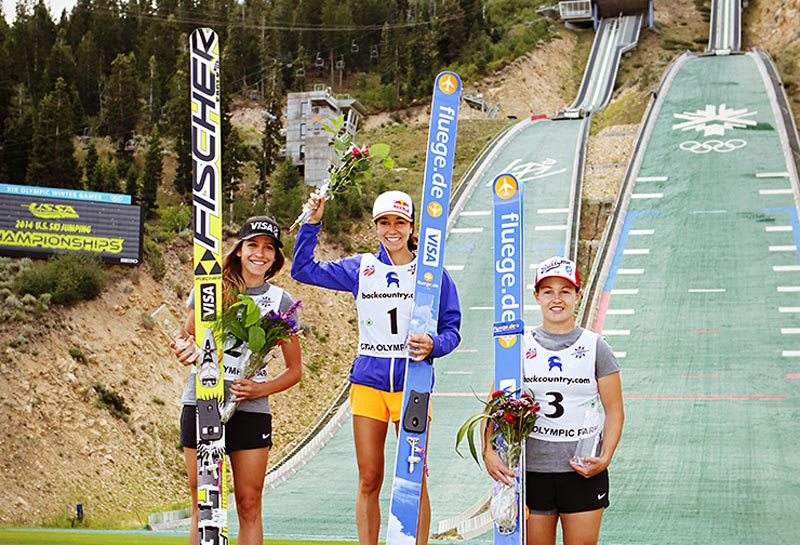 US National Championships: Jessica Jerome (2nd), Sarah Hendrickson (1st), Lindsey Van (3rd). Photo by Dan Campbell