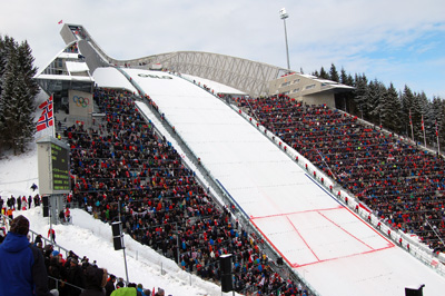The  Holmenkollen where 30,000 people filled the stadium to watch the women  and men compete on March 17. Photo by Whitney Childers/WSJUSA