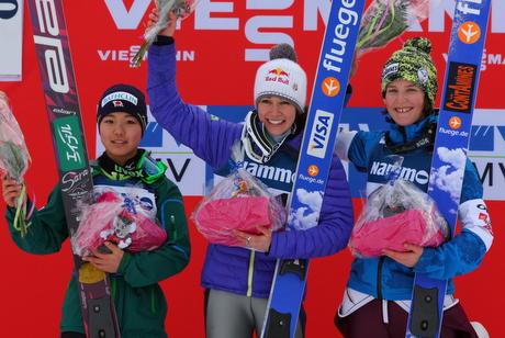 Sara Takanashi, JPN, Sarah Hendrickson, USA, Coline Mattel, FRA. Photo by ladiesskijumping.com
