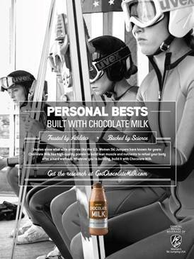 The got chocolate milk? ad campaign features the  following Women's Ski Jumping USA athletes (in order from right to  left): Alissa Johnson, Jessica Jerome, Nita Englund and Nina  Lussi.