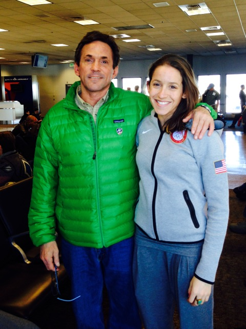 Peter Jerome and daughter Jessica at airport heading to the Sochi Games.