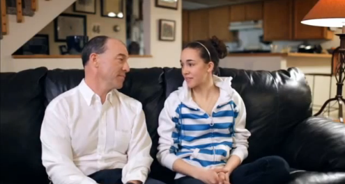 Bill Hendrickson and daughter Sarah star in a Kellogg's Frosted Flakes ad.