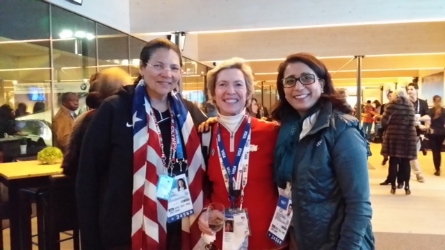 Anita  DeFrantz and Nawal El Moutawakel (International Olympic Committee members) pictured with WSJ's Deedee Corradini.
