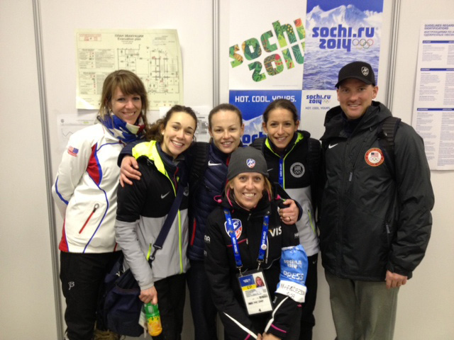 Post-event WSJ-USA photo: PT Valerie Tschui, Sarah Hendrickson, Lindsey Van, Media Director Whitney Childers, Jessica Jerome and Head Coach Alan Alborn.