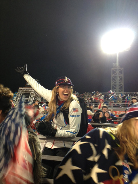 USSA's Lauren Loberg - queen of the fan section.