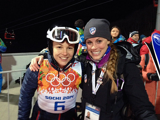 Lindsey Van with former jumper and current judge Blair Tomten in Sochi, Russia.