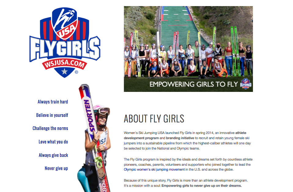 Landing page for the new Fly Girls Athlete Development Program.