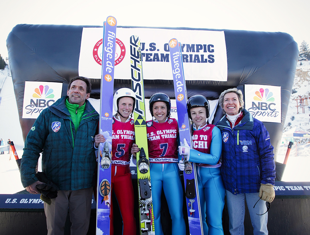 WSJ-USA founder Peter Jerome, Alissa Johnson, Jessica Jerome, Lindsey Van and Deedee Corradini at the Olympic Trials, December 2013. Photo by Dan Campbell