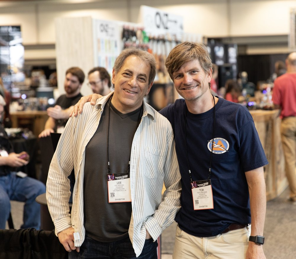 Lee Haddad (left) and Tor Lundgren (right) at NAMM in Nashville, 2018.