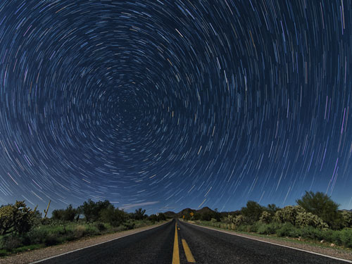 Star Trails Near Queen Valley, Arizona