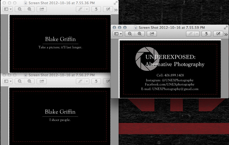New business cards. Designing two separate cards, one more family friendly than the other.