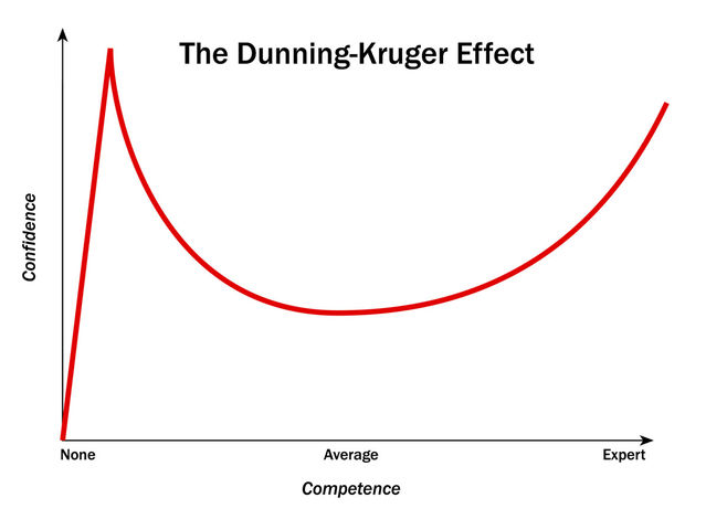 Basically in short this chart can be applied to anything. It states that your level of confidence in how good you are at something Peaks at both when you have zero skills, and then again when you really are an expert, but dips lower when you are average.