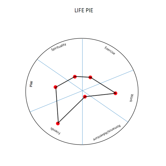 My life pie. High in friendship, medium in work and play, but pretty low in everything else (Spirituality, Exercise, and almost 0 Romance/Adventure.