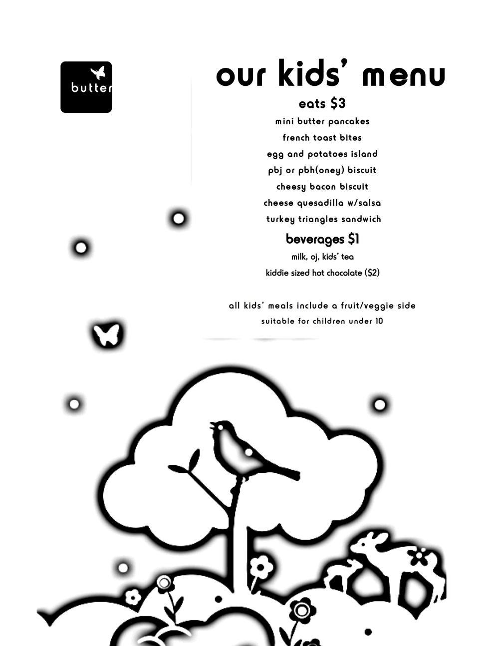 butter kids' menu