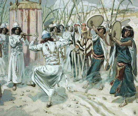 "King David and all the people of his day  experienced the frame drum regularly as part of their worship of God and thus they  could be and were ""...dancing before the Lord with all their might"" because the frame drum was present! J. Tissot PD"